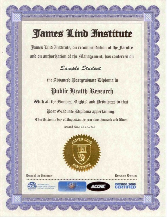 Sample Certificate  James Lind Institute